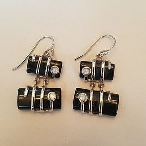 Jewelry - Black and Mother of Pearl Earrings